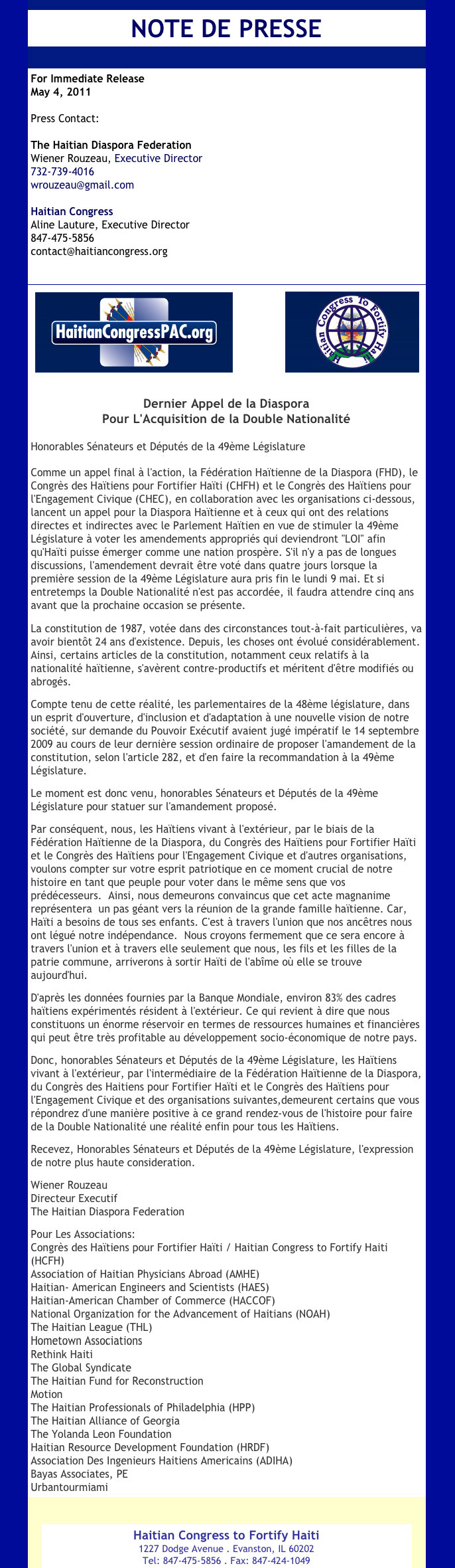 Haitian Congress PAC Press Release